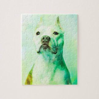 Pitbull Dog Water Color Portrait Art Jigsaw Puzzle