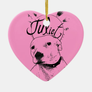 Pitbull Illustration Ceramic Heart Decoration