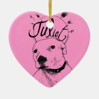 Pitbull Illustration Ceramic Heart Decoration