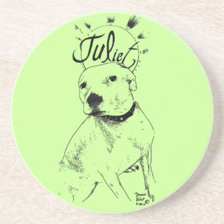 Pitbull Illustration Beverage Coasters