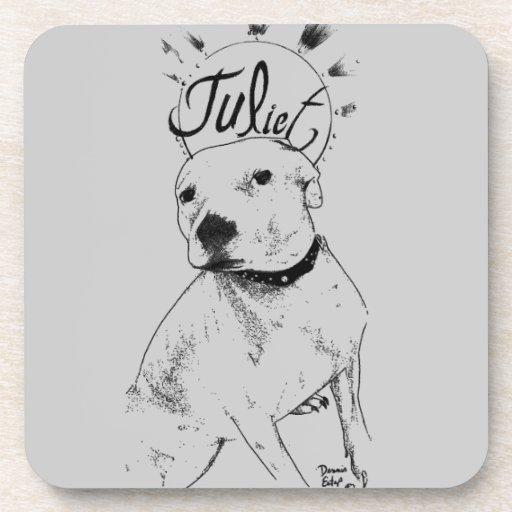 Pitbull Illustration Drink Coaster