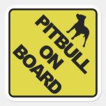 Pitbull on Board Square Stickers