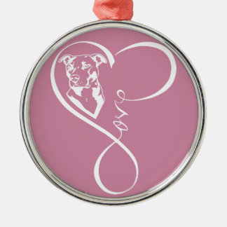 Pitbull Perfect Heartbeat Premium Round Ornament