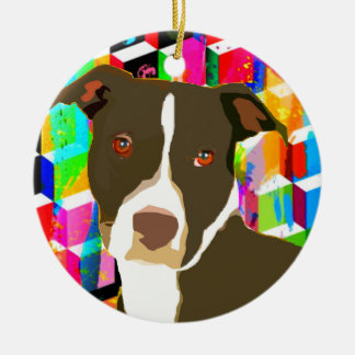 Pitbull Portrait Pop Art Ceramic Ornament