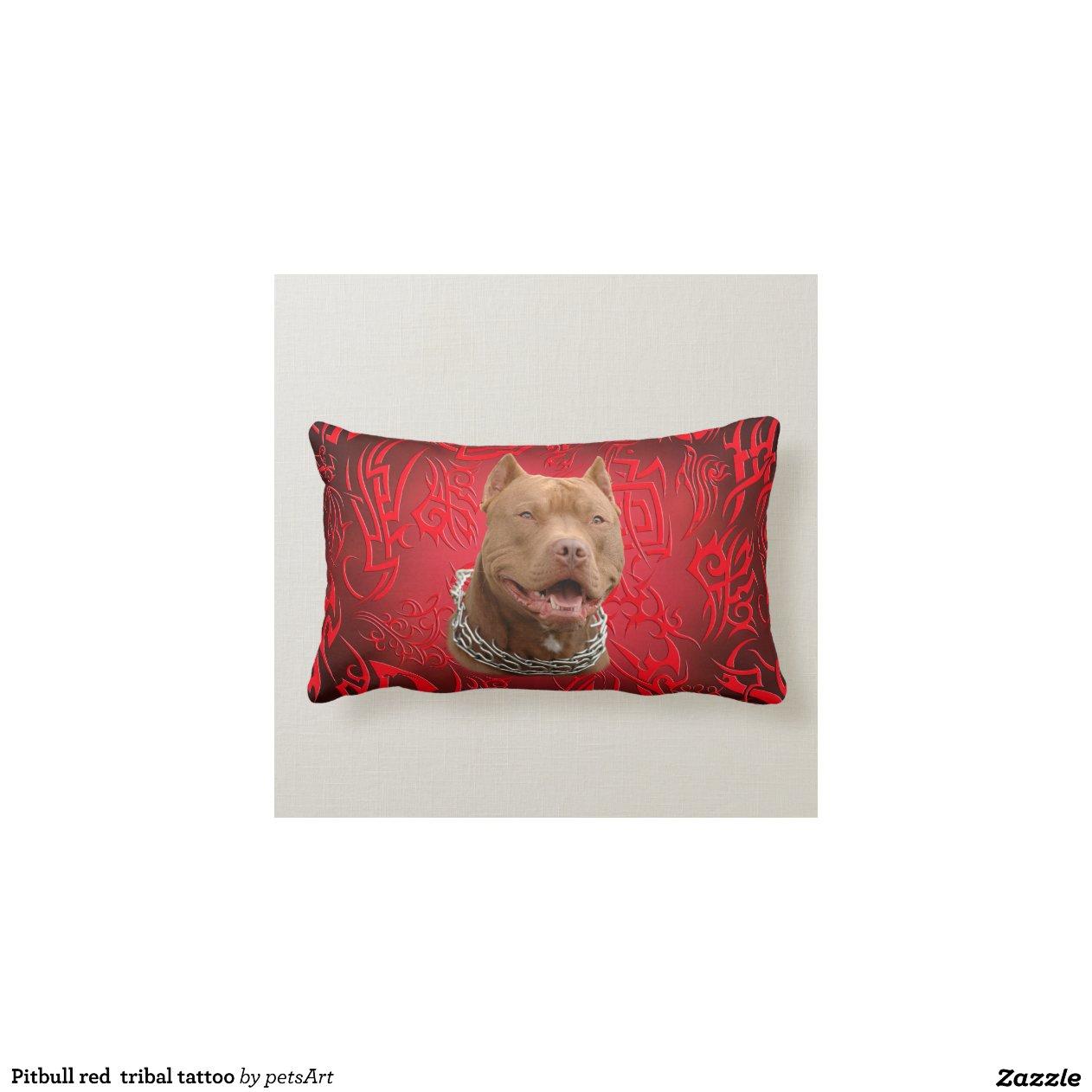Pitbull red tribal tattoo throw pillow Zazzle