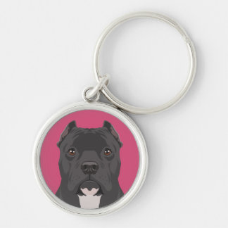 Pitbull Silver-Colored Round Key Ring