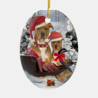 Pitbull with Santa's sleigh Ornament