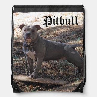 Pitbull with Skateboard Drawstring Backpack