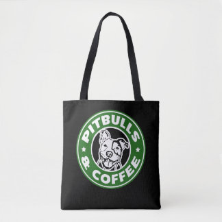 Pitbulls and Coffee funny parody bag
