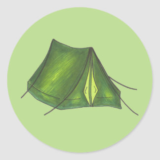 Pitch a Tent Summer Camp Camping Hiking Green Classic Round Sticker