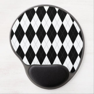 Pitch Black Argyle White Small Diamond Shape Gel Mouse Pad