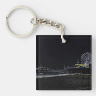Pitch Black Neon Santa Monica Pier Key Ring