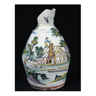 Pitcher depicting the construction of a postcard