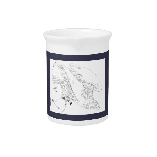 Pitcher in blue with Pen and Ink Eagle