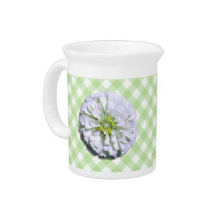 Pitcher - Lemony White Zinnia on Lattice
