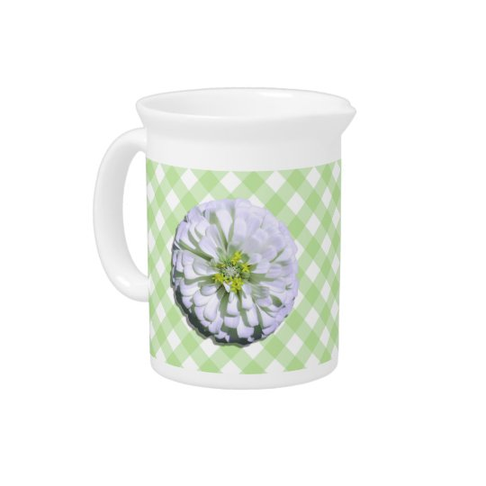 Pitcher - Lemony White Zinnia on Lattice
