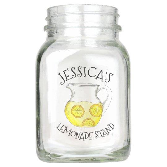 Pitcher of Lemonade Stand Lemon Ade Citrus Fruit Mason Jar