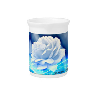 """Pitcher """"White Rose in Blue"""""""