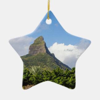 Piton de la Petite mountain in Mauritius panoramic Ceramic Star Decoration