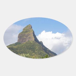 Piton de la Petite mountain in Mauritius panoramic Oval Sticker