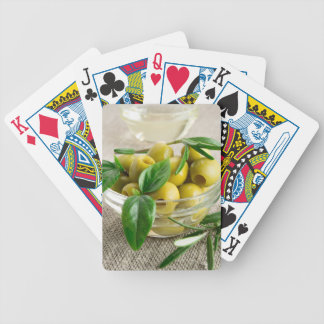 Pitted olives with green leaves and rosemary bicycle playing cards