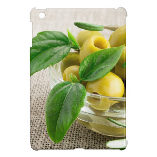Pitted olives with green leaves and rosemary case for the iPad mini