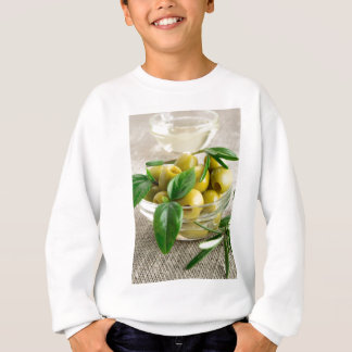 Pitted olives with green leaves and rosemary sweatshirt