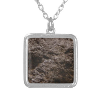 pitted rock texture silver plated necklace