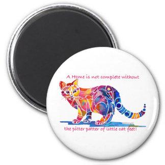 Pitter Patter of Little Cat Feet 6 Cm Round Magnet