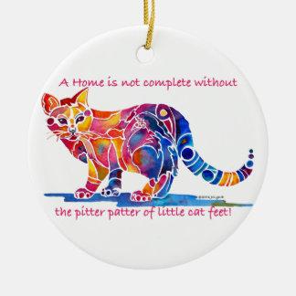 Pitter Patter of Little Cat Feet Ceramic Ornament