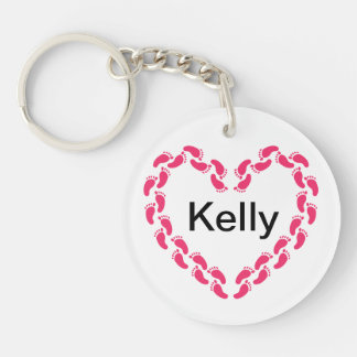 Pitter patter of little feet foot prints key ring
