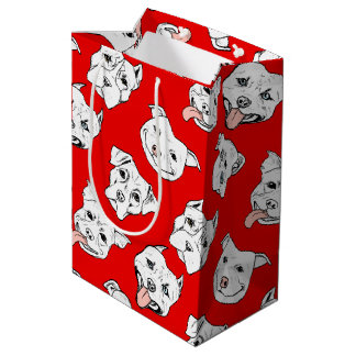"""Pittie Pittie Please!"" Dog Drawing Pattern Medium Gift Bag"