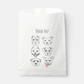 """Pittie Pittie Please!"" Dog Faces   Thank You Favour Bag"