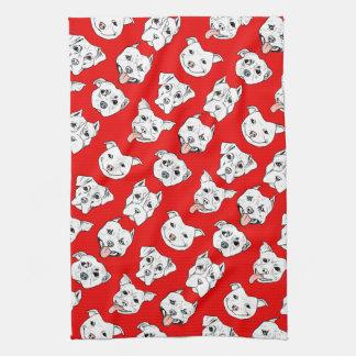 """""""Pittie Pittie Please!"""" Dog Illustration Pattern Tea Towel"""