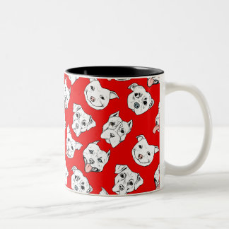 """Pittie Pittie Please!"" Dog Illustration Pattern Two-Tone Coffee Mug"