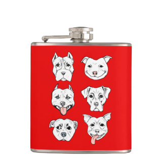 """""""Pittie Pittie Please!"""" Pit Bull Dog Faces Hip Flask"""