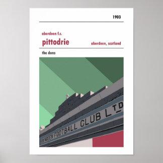 Pittodrie, Aberdeen. Vintage look Merkland print