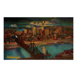 Pittsburgh By Moonlight Poster