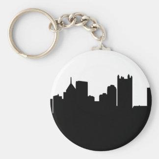 Pittsburgh City Skyline Basic Round Button Key Ring