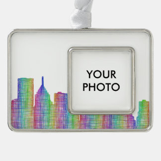 Pittsburgh city skyline silver plated framed ornament