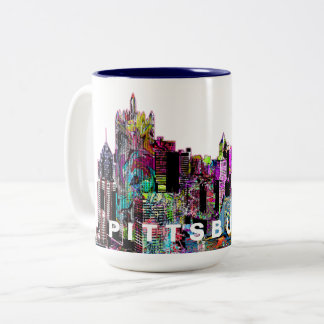 Pittsburgh in graffiti Two-Tone coffee mug