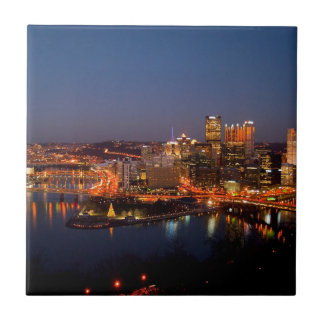 Pittsburgh Night Skyline Ceramic Tile