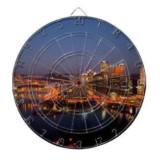 Pittsburgh Night Skyline Dartboard