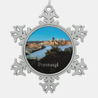 Pittsburgh-Pa-Photo-Christmas-Ornament-Snowflake Snowflake Pewter Christmas Ornament