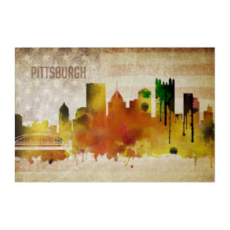 Pittsburgh, PA | Watercolor City Skyline Acrylic Print