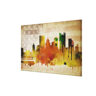 Pittsburgh, PA | Watercolor City Skyline Canvas Print