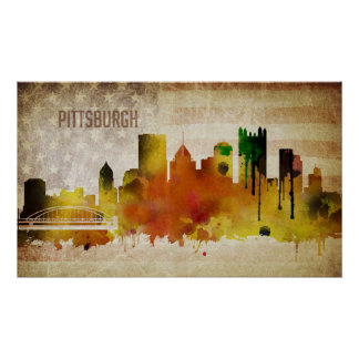 Pittsburgh, PA | Watercolor City Skyline Poster