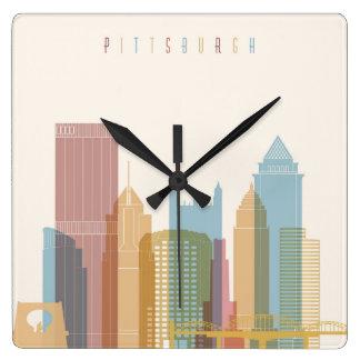Pittsburgh, Pennsylvania | City Skyline Square Wall Clock
