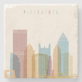 Pittsburgh, Pennsylvania | City Skyline Stone Beverage Coaster