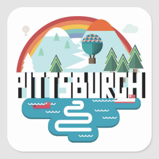 Pittsburgh, Pennsylvania | Cityscape Design Square Sticker